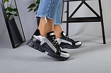 Женские кроссовки на массивной подошве серые с черным