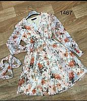 Молодежное платье шифоновое для девушек с цветами 44-50,белого цвета