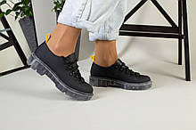 Женские туфли на шнурках, черная матовая кожа