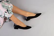 Женские черные балетки, велюр и кожа