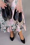 Женские черные балетки, велюр и кожа, фото 9