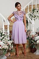 Шикарное вечернее платье с вышивкой на сетке. Лаванда, 2 цвета. Р-ры: 44, 46, 48, 50