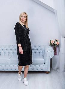 Женское платье миди черное