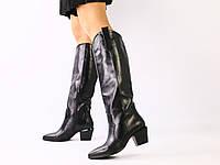 Женские черные кожаные сапоги на байке