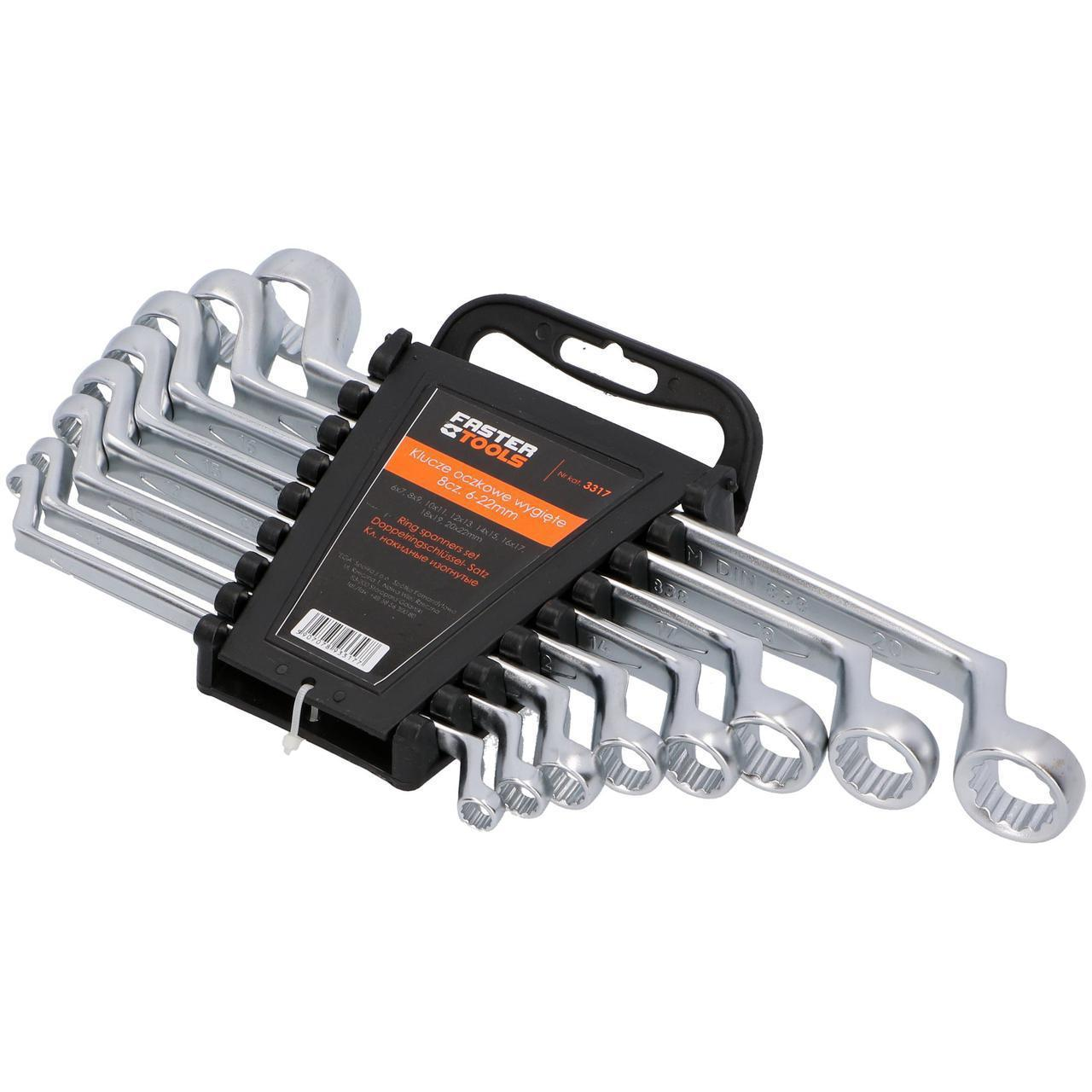 Набір ключів накидних вигнутих 6-17 мм 6 шт FASTER TOOLS