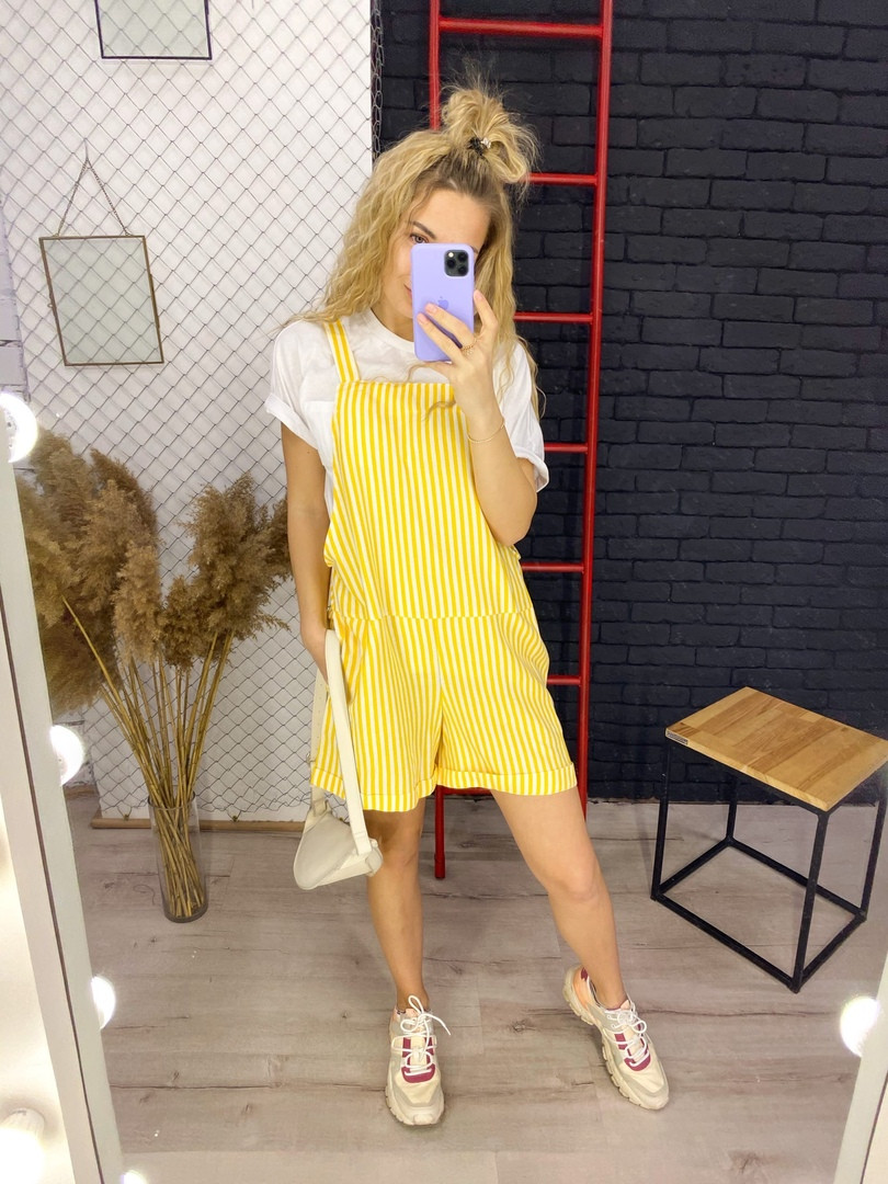 Жіночий лляної комбінезон в смужку з шортами розміри 42-44, 46-48 жовтий