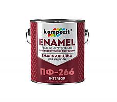 Эмаль для пола ПФ-266 Kompozit красно-коричневая, 0.9 кг