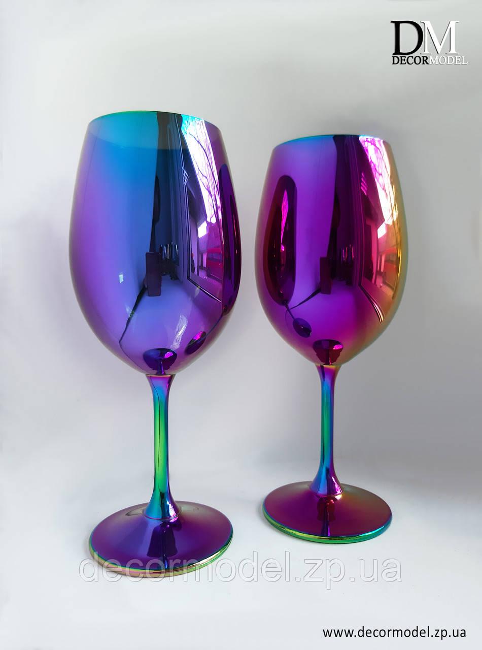 Набор бокалов для вина Bohemia Sylvia 450 мл. (цвет: РАДУГА, сияние)