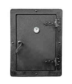 Дверца для коптилки печи 590х440 мм, чугунная печная дверка с термометром 102810