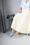 Замшевые балетки голубого цвета, фото 3