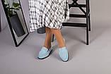 Замшевые голубые туфли на низком ходу, фото 3