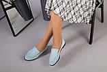 Замшевые голубые туфли на низком ходу, фото 5