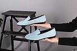 Замшевые голубые туфли на низком ходу, фото 7