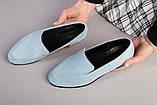 Замшевые голубые туфли на низком ходу, фото 8