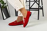 Замшевые закрытые туфли на низком ходу, красные, фото 2