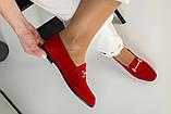 Замшевые закрытые туфли на низком ходу, красные, фото 6