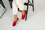 Замшевые закрытые туфли на низком ходу, красные, фото 7