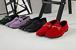 Замшевые закрытые туфли на низком ходу, красные, фото 10