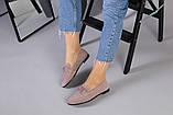Замшевые туфли на низком ходу пудрового цвета, фото 6