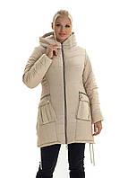 Женская зимняя куртка , капюшон вшитый, р-ры с 44 по 52,(26-1) шампань