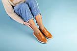 Рыжие кожаные туфли-лоферы на светлой подошве, фото 3