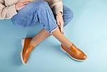 Рыжие кожаные туфли-лоферы на светлой подошве, фото 4
