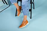 Рыжие кожаные туфли-лоферы на светлой подошве, фото 6