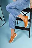 Рыжие кожаные туфли-лоферы на светлой подошве, фото 8