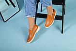 Рыжие кожаные туфли-лоферы на светлой подошве, фото 9