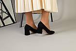 Туфли женские замшевые черные, каблук 6,5 см, фото 3