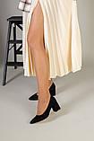 Туфли женские замшевые черные, каблук 6,5 см, фото 4