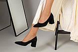 Туфли женские замшевые черные, каблук 6,5 см, фото 7