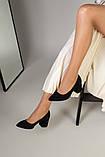 Туфли женские замшевые черные, каблук 6,5 см, фото 8