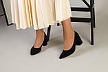 Туфли женские замшевые черные, каблук 6,5 см, фото 10