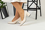 Туфли женские кожаные молочного цвета на черной подошве, фото 3
