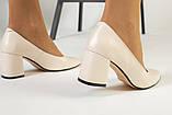 Туфли женские кожаные молочного цвета на черной подошве, фото 4