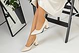 Туфли женские кожаные молочного цвета на черной подошве, фото 6