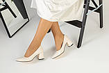 Туфли женские кожаные молочного цвета на черной подошве, фото 7