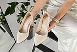 Туфли женские кожаные молочного цвета на черной подошве, фото 10
