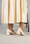 Туфли женские кожаные молочного цвета, каблук 6,5 см, фото 4