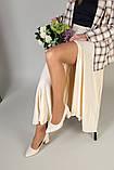 Туфли женские кожаные молочного цвета, каблук 6,5 см, фото 5