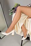 Туфли женские кожаные молочного цвета, каблук 6,5 см, фото 8