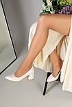 Туфли женские кожаные молочного цвета, каблук 6,5 см, фото 9