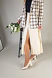 Туфли женские кожаные молочного цвета, каблук 6,5 см, фото 10