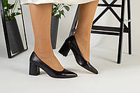 Туфли женские кожаные черные, каблук 6,5 см, фото 1