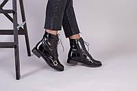 Черные ботинки на байке кожа наплак, с замком и шнуровкой, фото 1