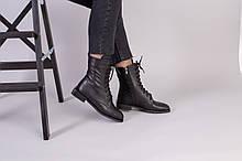 Черные кожаные ботинки деми на шнурках с замком