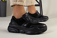 Черные кожаные кроссовки с вставками замши, фото 1