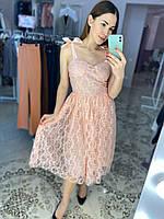 Нарядное кружевное платье с лентами на плечах Розовый