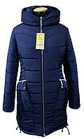 Женская зимняя куртка, капюшон вшитый, р-ры с 44 по 52,(26-1) синий